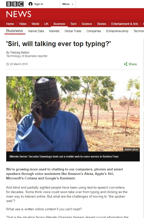 Screenshot of the bBC article